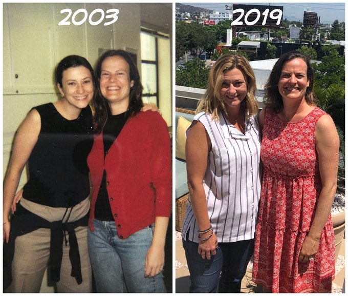 Jessica Petelle and Alyson Shelton in 2003 and 2019
